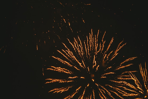Close-up gold festive fireworks on black Premium Photo