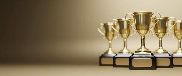 Close up on gold trophy award in 3d rendering Premium Photo