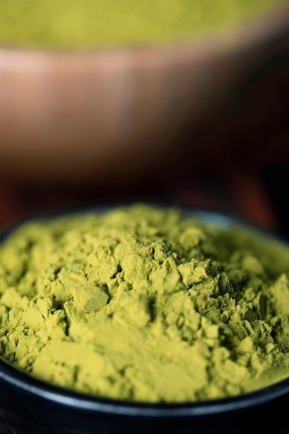 Крупный план зеленого азиатского чая маття Бесплатные Фотографии