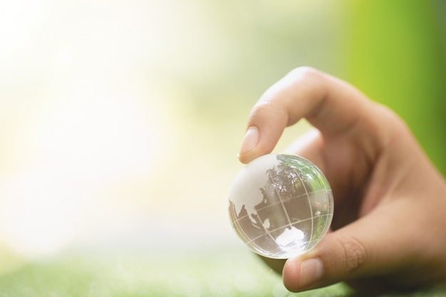 Close up of green planet in your hands. save earth. Free Photo
