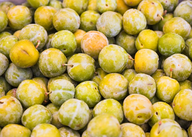 Close-up of green plums or greengage fruit Free Photo