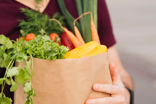 Close-up grocery bag with vegetables Free Photo