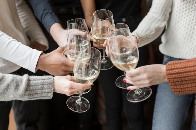 Close-up group of friends toasting wine glasses Free Photo