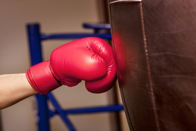 Close-up hand of boxer at the moment of impact on punching bag Free Photo