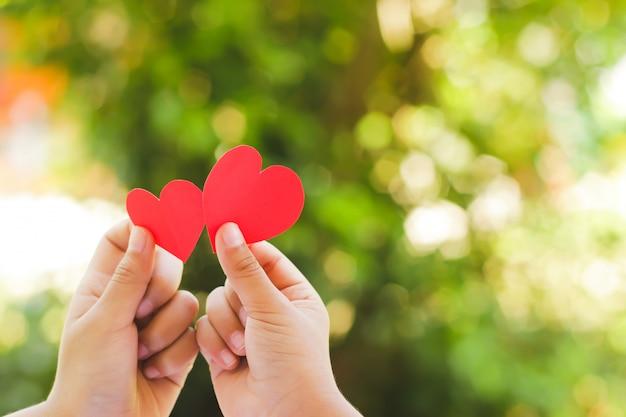 Close up hand of children holding mini heart on green background. Premium Photo