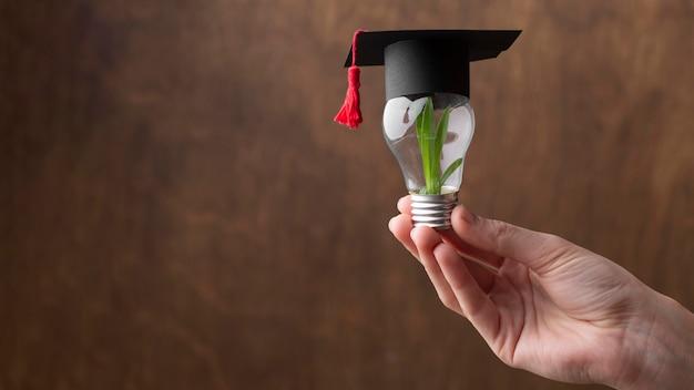 Крупным планом рука лампочку с растением Бесплатные Фотографии
