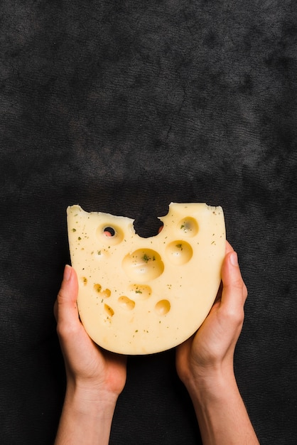 Close-up of hand holding maasdam cheese against black textured backdrop Free Photo