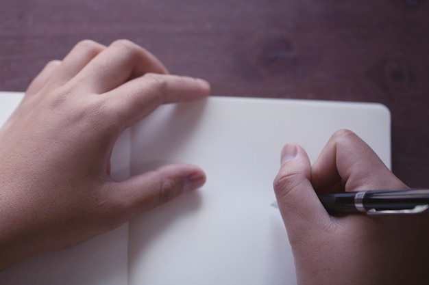 Close up of hand holding pen, it's like a letter writer Premium Photo