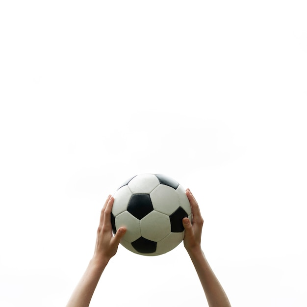 Close-up hands holding soccer ball Premium Photo