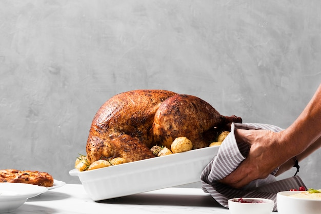 Close-up hands putting turkey on table Free Photo