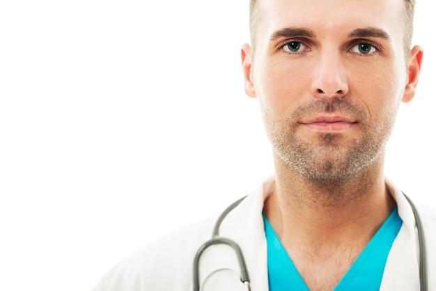 Primo piano di un bel medico maschio Foto Gratuite