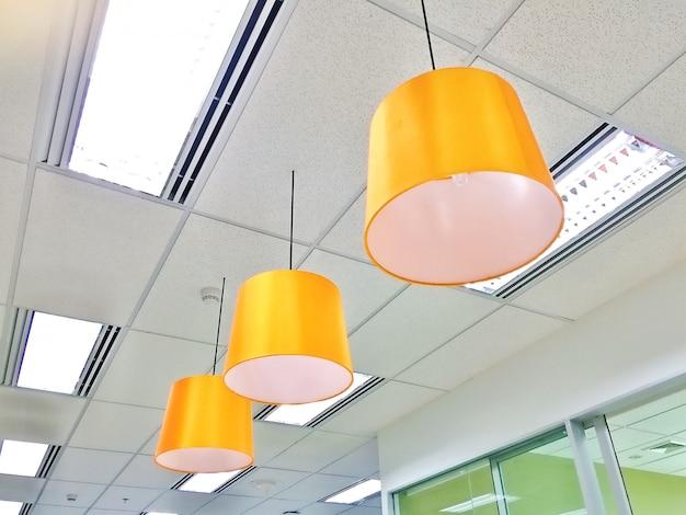 Close up hanging ceiling lamp decoration luxury style Premium Photo