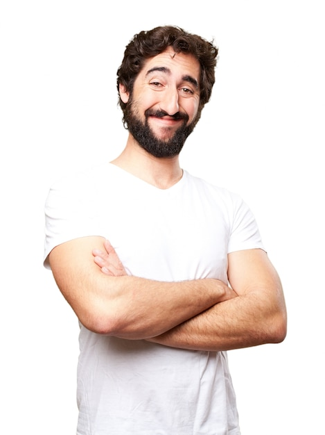 Close-up of happy man with white t-shirt Free Photo
