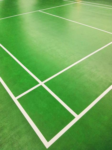 Close up high angle corner view of badminton court Premium Photo