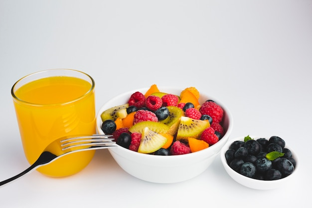 Close-up high angle view of bowls of fruits Free Photo