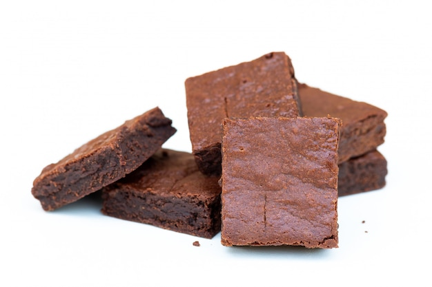 Close up homemade chocolate brownies with copy space Premium Photo