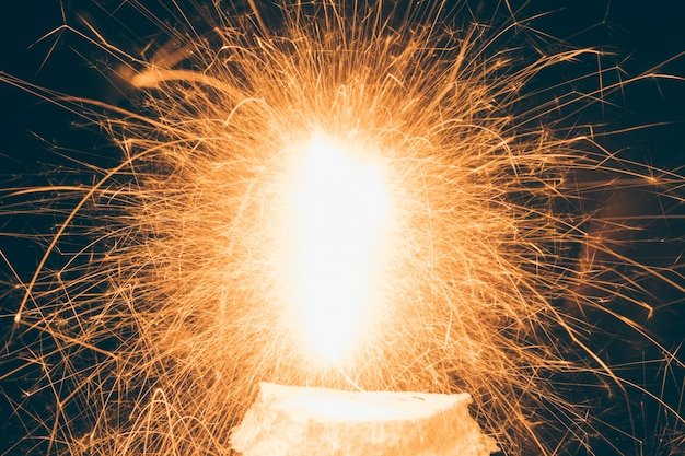 Close-up of illuminated fireworks during festival Free Photo
