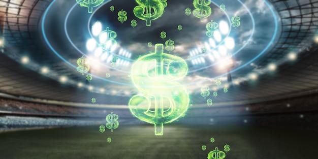 スタジアムを背景にした米ドル記号のクローズアップ画像。スポーツくじ、賭け、ギャンブルから利益を得るという概念。アメリカンフットボール。 Premium写真