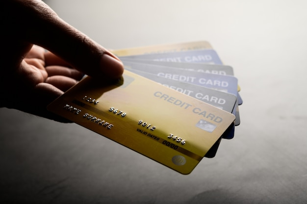 Close-up images of multiple credit card handsets Free Photo