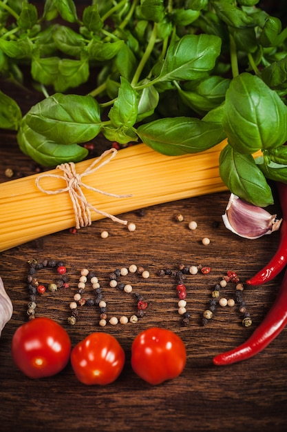 Close up of ingredient on italian meal Free Photo