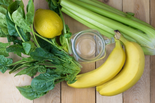 Close-up of ingredients for making green smoothies Premium Photo