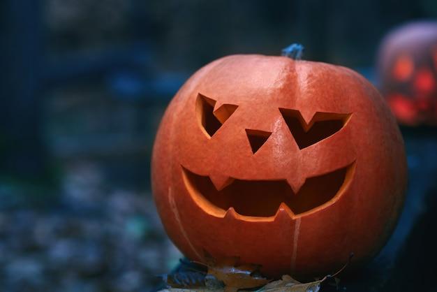Chiuda in su di una zucca di halloween della testa della presa in una foresta scura al copyspace di notte. Foto Gratuite