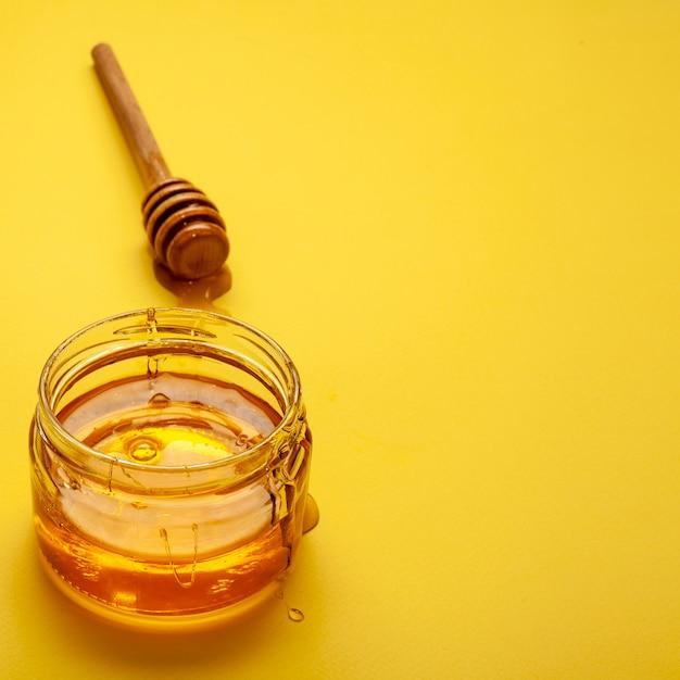 Close-up jar with homemade honey Free Photo
