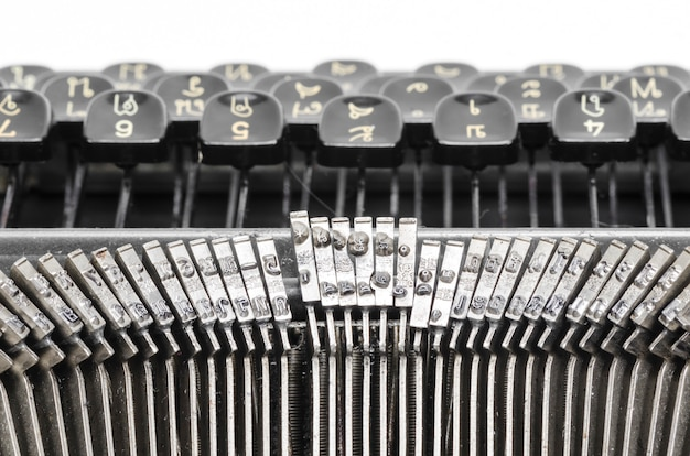 Close up of the letters on an old typewriter. Premium Photo