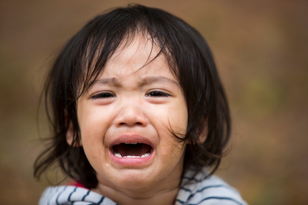 Close up little kid girl crying with tearful on her face | Premium ...