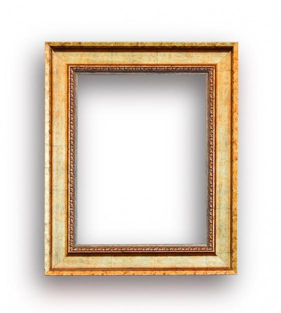 Close up luxury golden wood picture frame Premium Photo