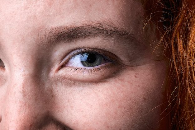Close up macro shot of a red haired girl eye Premium Photo