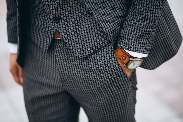 Close up of male suit Free Photo