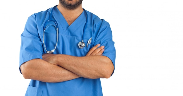 Close up of a man's arms crossed of medical staff Premium Photo
