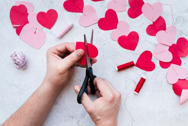 Close-up of man's hand making the heart shape garland on white textured backdrop Free Photo