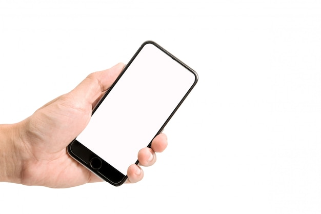 Close up of man using mobile smart phone isolated on white background. Premium Photo