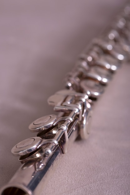 Close up of metal flute Free Photo