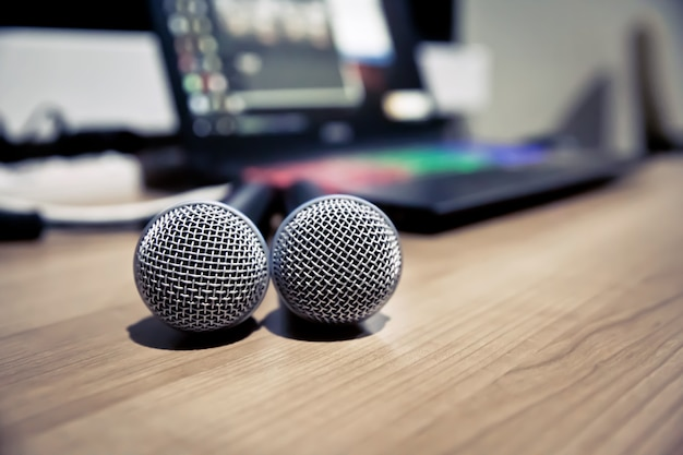 Close up microphone in the studio. Premium Photo