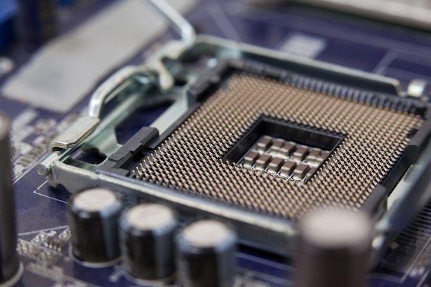 Close-up of a motherboard Premium Photo