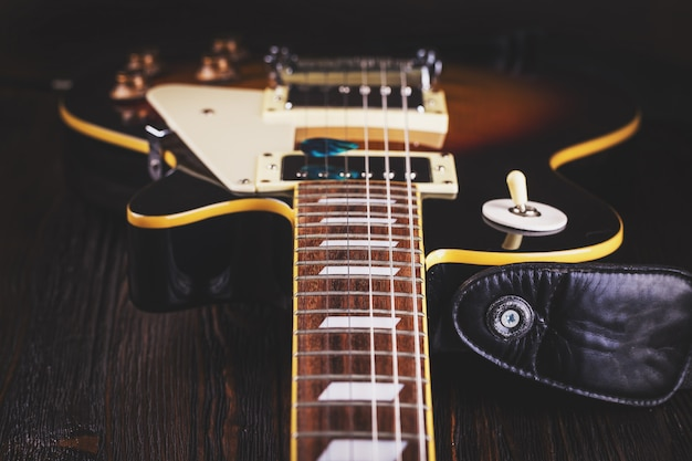 Close up of music guitar Premium Photo