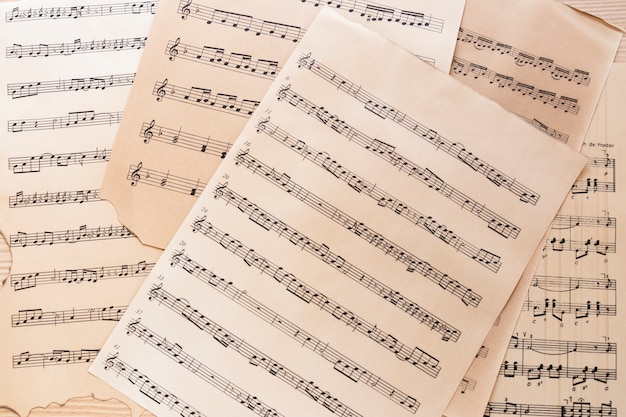 Close-up music sheet with notes Free Photo