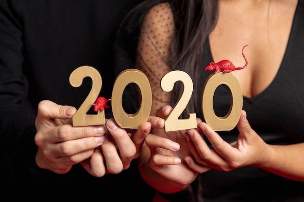 Close-up of new year sign and rat figurines Free Photo