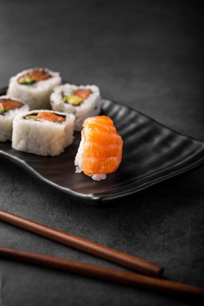 Close up nigiri and maki sushi Free Photo