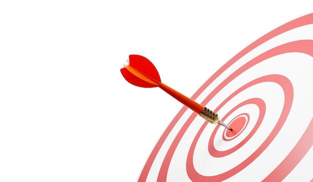 빨간 다트와 황소의 눈의 클로즈업, 목표, 성공을 명 중. 빨간색과 흰색 원이있는 대상입니다. 3d 그림 프리미엄 사진