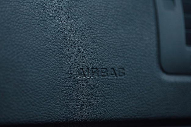 エアバッグステアリングホイールシンボルのクローズアップ Premium写真