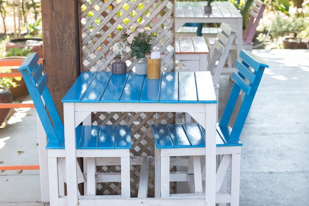 Close up of blue dining table set in food court Premium Photo & Close up of blue dining table set in food court Photo | Premium Download