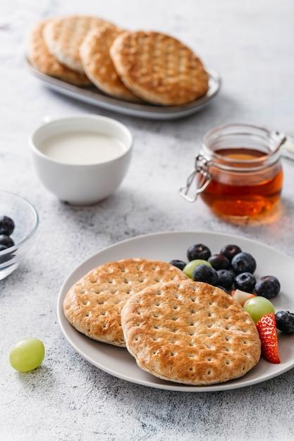 맛있는 아침 식사 구성의 클로즈업 무료 사진