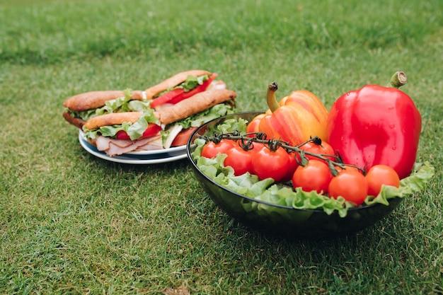 野菜を使った美味しいサンドイッチのクローズアップ。草の上にある健康的なエコ野菜のボウル。 無料写真