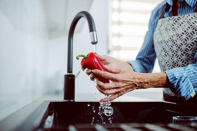 台所の流しで赤唐辛子を洗うエプロンで年配の女性のクローズアップ Premium写真