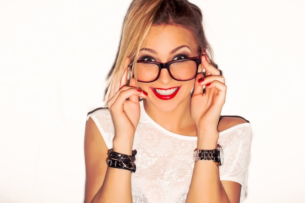 Close-Up Of Stylish Girl Wearing Glasses Photo  Free Download-4889