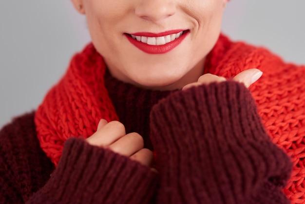 冬の女性のクローズアップ 無料写真